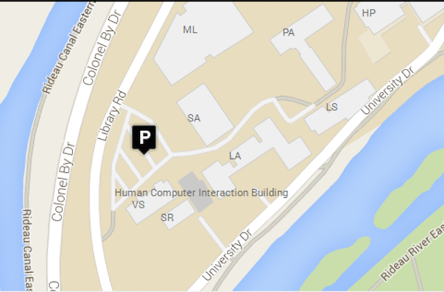 Carleton Campus map showing HCI building highlighted